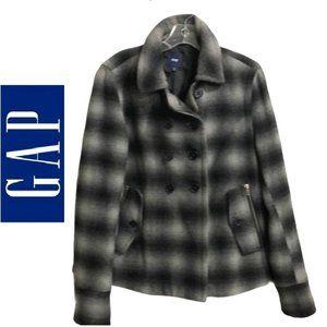 Gap Plaid Mod Wool Blend Double Breasted Pea Coat